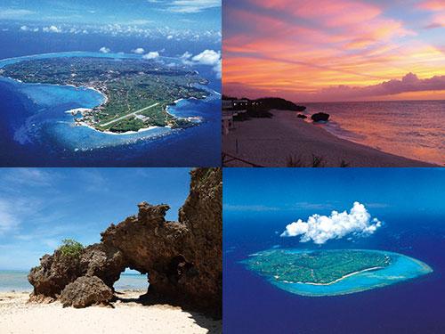 ヨロン島のイメージ ※左上から時計回りに島全景、サンセット、島遠景、タイムトンネル