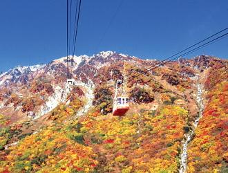 立山ロープウェイ(10月頃)※例年の紅葉の見頃:9月下旬〜10月上旬