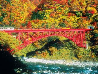 黒部峡谷鉄道(10月頃のイメージ)※見頃:例年10月下旬〜11月上旬