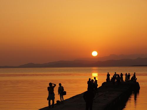 竹富島 西桟橋からの夕陽 イメージ