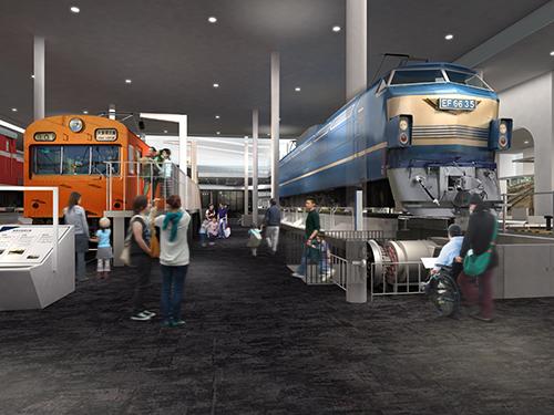 京都鉄道博物館 かさ上げ展示のイメージ