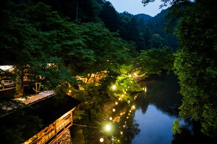 川床(高雄もみぢ家) 夕景の一例